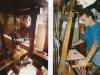 Papà e figlio alla tessitura del damasco